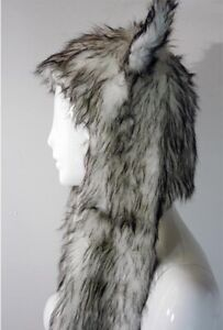 Long Wolf White And Black Fur With Animal Hat Pockets