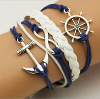 NEW Infinity Anchor Antique Leather Cute Charm Bracelet plated Silver DIY