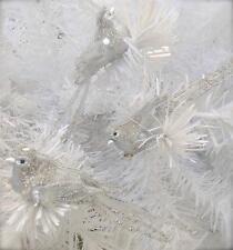 3 Shabby Xmas Tree Silver Sequin Beaded Sparkle Bird Ornaments Decorations Chic