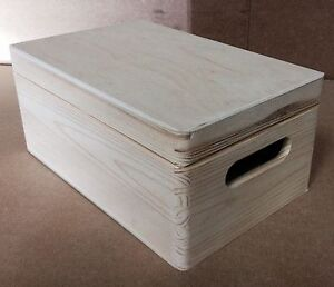 Plain wood wooden box with lid 30x20x14 DD168 storage decoupage
