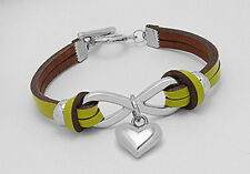 """Stylish7""""Lawn Green Chartreuse Infinity Love Heart Leather Bracelet Toggle Clasp"""