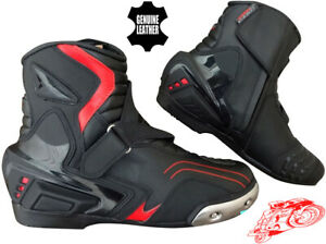 MENS RED & BLACK CE MOTORBIKE MOTORCYCLE RACING BOOTS SPORTS REAL LEATHER SHOES