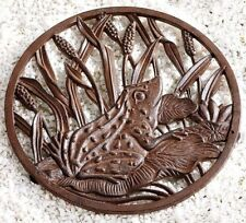"""Garden Path Walkway Stepping Stone Metal Potted Plant Base Frog NEW 11 1/4"""""""