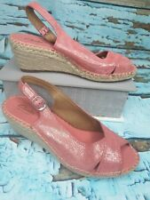 Clarks Petrina Leigh Ladies Coral Suede Slingback Wedge Peep Toe Sandals UK 5.5
