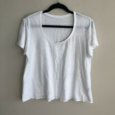 Eileen Fisher Womens Size Large Petite ? White Linen Short Sleeve Scoop Neck Top