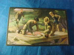 1914 SCOUT GUM Co Postcard # 10-BOY SCOUTS FIRST AID by HC EDWARDS