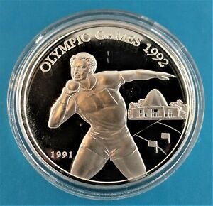 OLYMPIC GAMES 1992 silver proof coin WEST SAMOA 1991 10Tala UNC with certificate