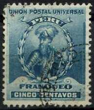 Peru 1896-1900 SG#341, 5c Turquoise Blue, Pizarro Used #E1263