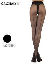 Collant con Riga Dietro, Calze Donna Velate con Slip, 20 DEN, Nero, S/M, L/XL