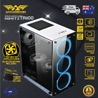 PC Gaming Case Micro-ATX Tower Tempered glass 235FX PSU & 3x Blue LED Fan White