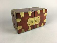 Vintage Asian Campaign Style Hollywood Regency Double Jewelry Box Brass & Wood