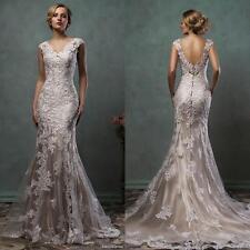 Applique Mermaid Lace New Elegant Wedding Dress Bridal Gown Custom Size 2017