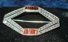 w/Margasite & Gems Brooch Signed Jj Vintage Judith Jack Designer Sterling Silver