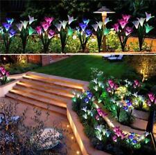 2PCS LILY FLOWER SOLAR POWERED GARDEN POT LIGHTS LED OUTDOOR COLOR CHANGE 8 HEAD