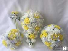 Buy yellow wedding bouquet ebay wedding flowers yellow rose crystal bouquet bride bridesmaid wand yellow posy mightylinksfo