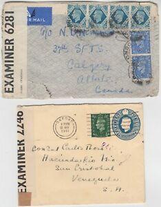 MILITARY 1941/4? 2x censor cover *OXFORD-VENEZUELA* & *LONDON-ALBERTA CANADA*