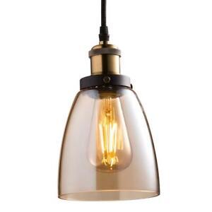 Feit Electric Brass Pendant Fixture w/ Amber Shade Filament Light Bulb