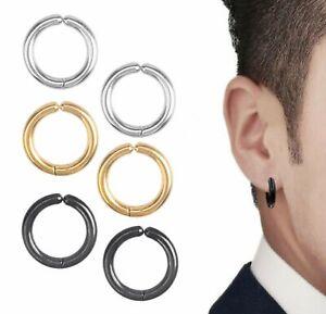 Small Stainless Steel Clip On Non-Piercing Fake Hoop Earrings for Women Men Ear