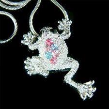 Rainbow w Swarovski Crystal Rhinestone Jungle ~Toad FROG Prince Pendant Necklace