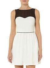 NWT Kim Kardashian White Sweetheart Illusion neckline Dress 12 Fit And Flare