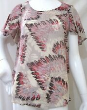 FEATHER PRINT BAGGY CHIFFON TOP LADIES TOPS SIZE 8-16