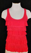 CHIC Abercrombie Kids Pink Racer Back Ruffle Lace Tank Blouse Shirt Top L