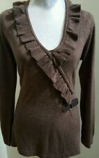Vintage Suzie brown wrap cardigan with leather buckle closure Size L Exc