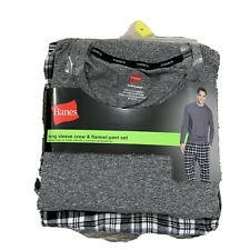Hanes Men's Long Sleeve Crew & Flannel Pant Set Black Grey Plaid Size L