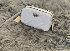 MICHAEL KORS PEYTON SMALL CAMERA CROSSBODY QUILTED LEATHER BAG OPTIC WHITE