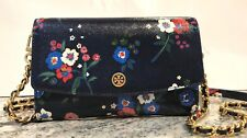 NWT AUTHENTIC TORY BURCH CROSS-BODY BAG WOMENS CHAIN WALLET PANSY BOUQUET FLORAL