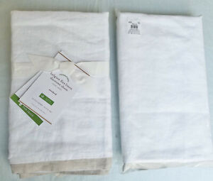 S/2 Pottery Barn Belgian Flax Linen Contrast Std Sham White Natural Duotone New