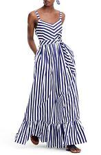 NWT J.Crew Striped Mason Ruffle Maxi Dress Maxidress Sz 4 J1588 Rare