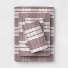 Threshold Purple Farmhouse Plaid Twin Printed Pattern Flannel Sheet Set NEW