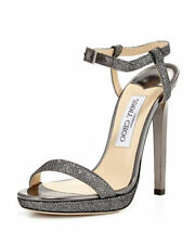 1dac0d39eb61 NEW JIMMY CHOO CLAUDETTE 120MM ANTHRACITE LAME GLITTER HEEL SANDAL SIZE 40