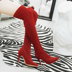 Women's Colorful Lace Over The Knee Boots Stiletto High Heels Pointed Toe Shoes