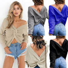 UK Women V-Neck Long Sleeve Crop Tops Sexy Backless Knitted Sweater Jumper Tops
