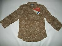 COLUMBIA SPORTSWEAR XCO 3/4 Sleeve BLOUSE Top Shirt womens Size SMALL $45 NEW