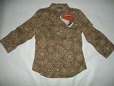 COLUMBIA SPORTSWEAR XCO 3/4 Sleeve Snap Front BLOUSE Top womens SMALL $45 NEW