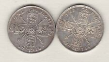 More details for two 1914 & 1916 george v silver florins in good fine or better condition