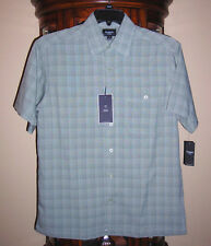 Haggar W2W Polyester Small  Gray Plaid Short Sleeve Button Shirt $45 NEW Easy