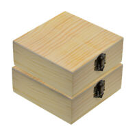 2x Unfinished Wood Unpainted Wooden Jewelry Gift Box Storage Case Container