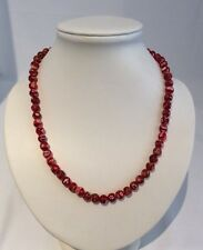 RED GLASS (5mm BEADS) NECKLACE + SILVER PLATTED-S CLASP 46.5cm LONG