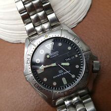 Vintage Seiko Quartz 200m Day-Date Diver Watch w/Orig Seiko Bracelet,All SS Case