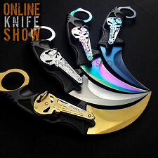 8PCS KNIVES TACTICAL COMBAT KARAMBIT NECK KNIFE Survival Hunting Fixed Blade SET