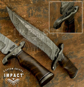 IMPACT CUTLERY RARE CUSTOM DAMASCUS KNIFE BURL WOOD HANDLE