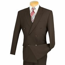LUCCI Men's Brown Double Breasted Classic Fit Poplin Polyester Suit NEW