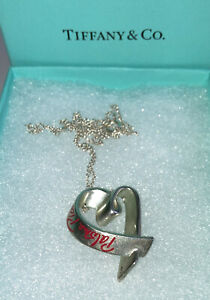 Tiffany & Co. Silver Paloma Picasso Loving Love Heart Red 3D Necklace Genuine