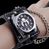 Luxury Black Gothic Skull Bracelet Wrist Leather Watch Quartz Steampunk Chain
