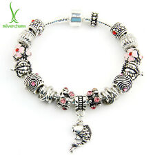 LOVE Christmas European Fish Charms Bracelets With Purple Crystal DIY For Women