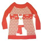 Holiday Time  Lama Pullover Long Sleeve Red Big Print XL Ugly Christmas Sweater